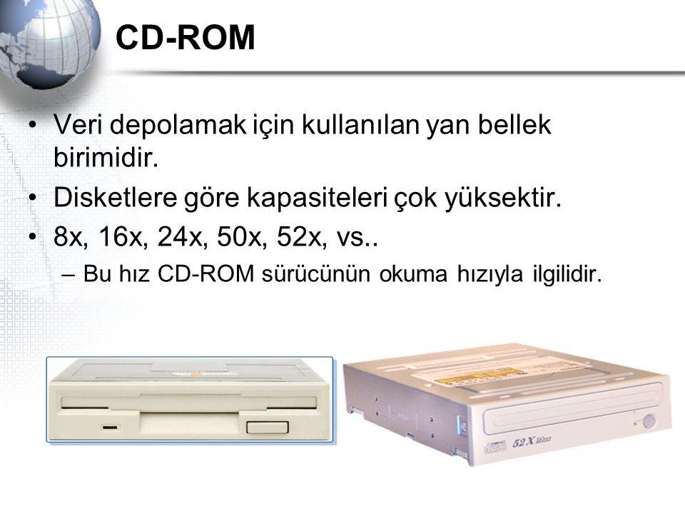 CD-ROM Veri depolamak için kullanılan yan bellek birimidir. Disketlere göre kapasiteleri çok yüksektir. 8x, 16x, 24x, 50x, 52x, vs.. –Bu hız CD-ROM sü