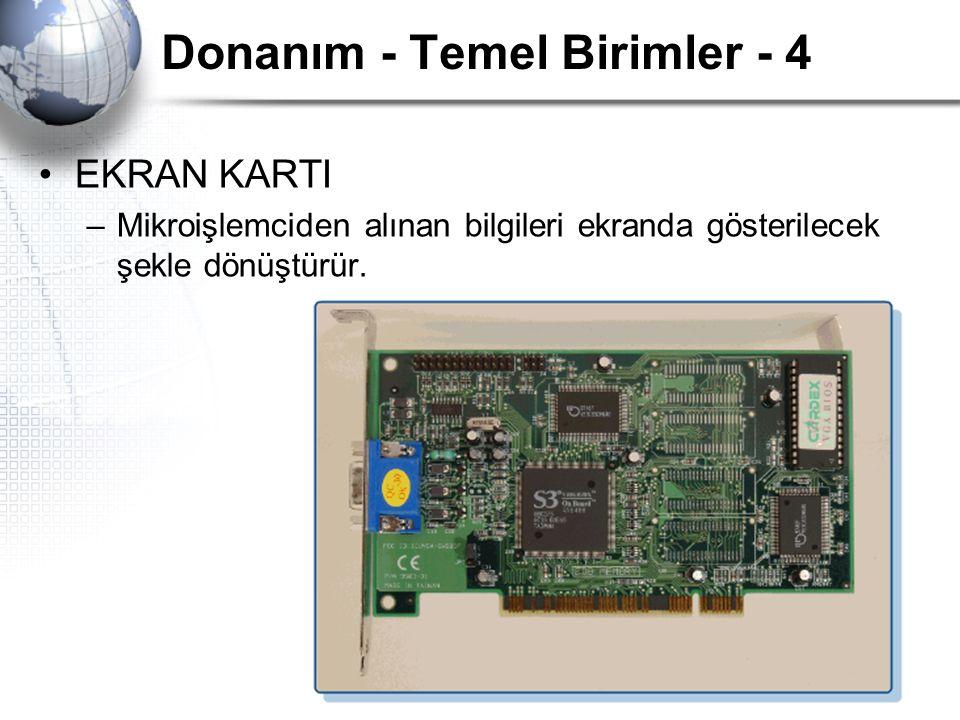 Donanım - Temel Birimler - 4 EKRAN KARTI –Mikroişlemciden alınan bilgileri ekranda gösterilecek şekle dönüştürür.
