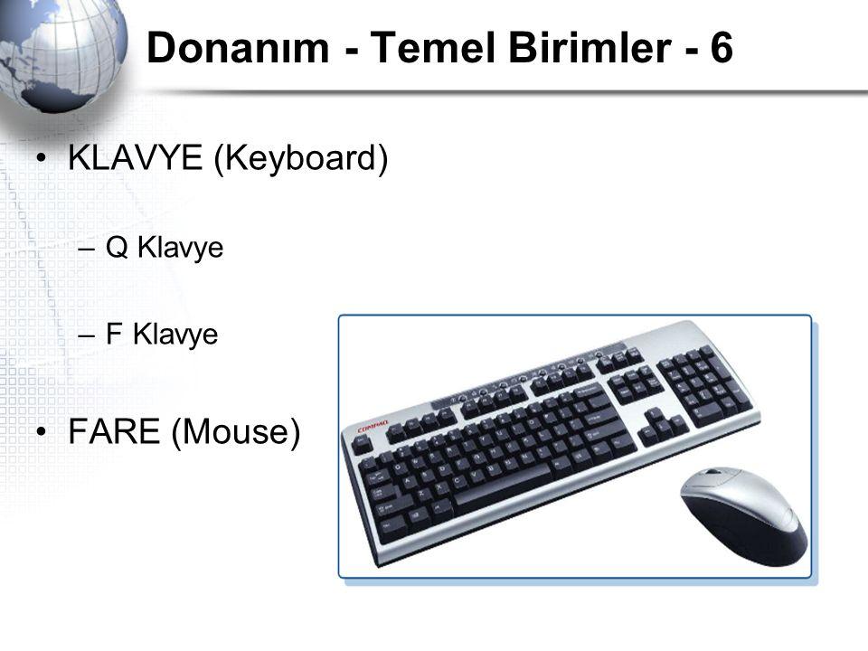 Donanım - Temel Birimler - 6 KLAVYE (Keyboard) –Q Klavye –F Klavye FARE (Mouse)