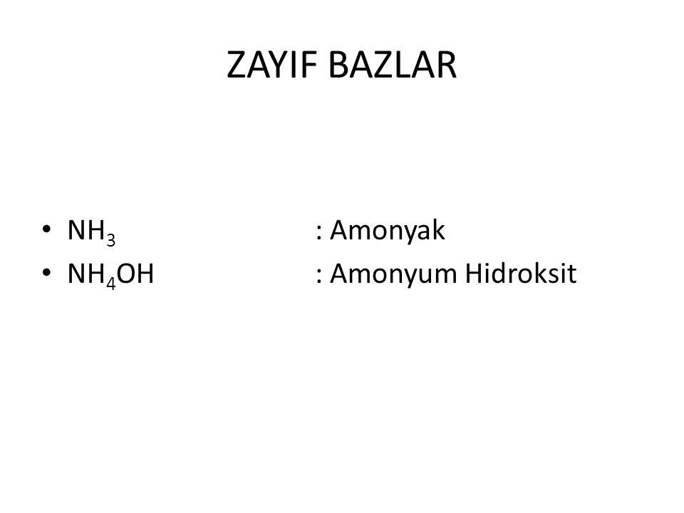ZAYIF BAZLAR NH 3 : Amonyak NH 4 OH : Amonyum Hidroksit