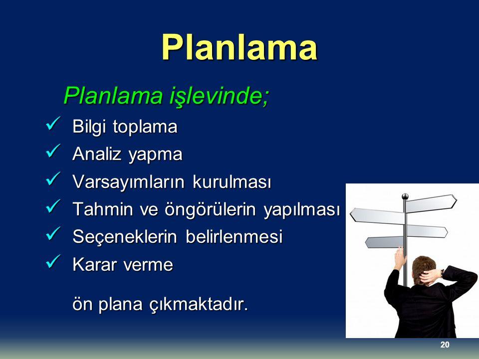 Planlama Planlama işlevinde; Bilgi toplama Bilgi toplama Analiz yapma Analiz yapma Varsayımların kurulması Varsayımların kurulması Tahmin ve öngörüler