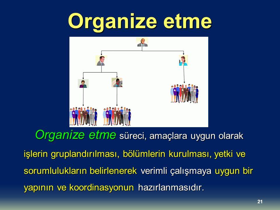 Organize etme Organize etme süreci, amaçlara uygun olarak işlerin gruplandırılması, bölümlerin kurulması, yetki ve sorumlulukların belirlenerek veriml