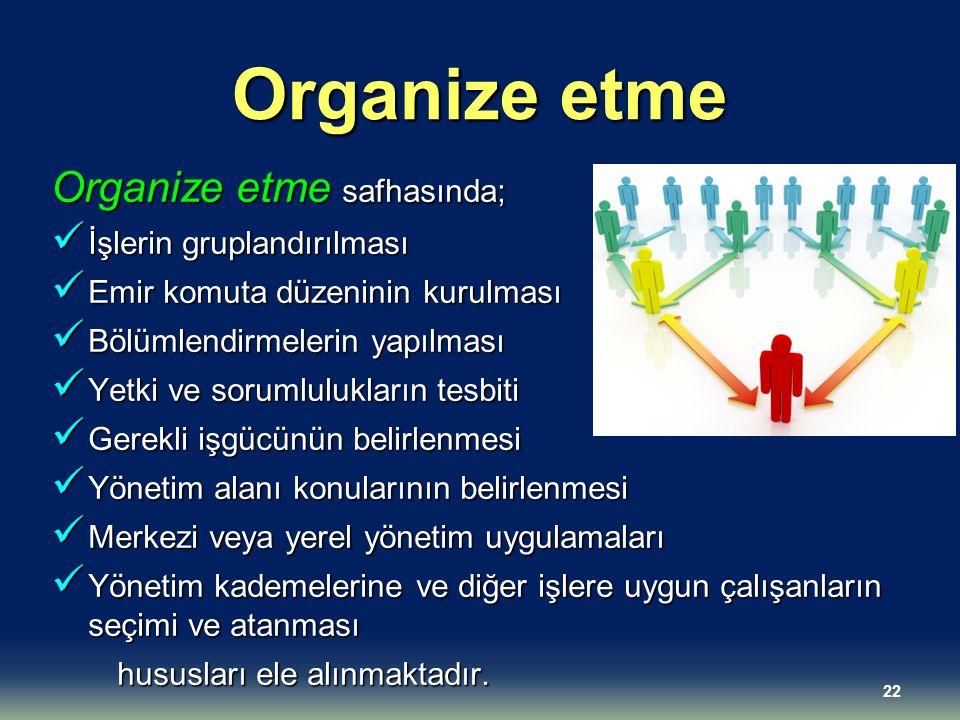 Organize etme Organize etme safhasında; İşlerin gruplandırılması İşlerin gruplandırılması Emir komuta düzeninin kurulması Emir komuta düzeninin kurulm