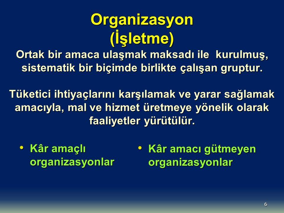 6 Organizasyon (İşletme) Ortak bir amaca ulaşmak maksadı ile kurulmuş, sistematik bir biçimde birlikte çalışan gruptur. Tüketici ihtiyaçlarını karşıla