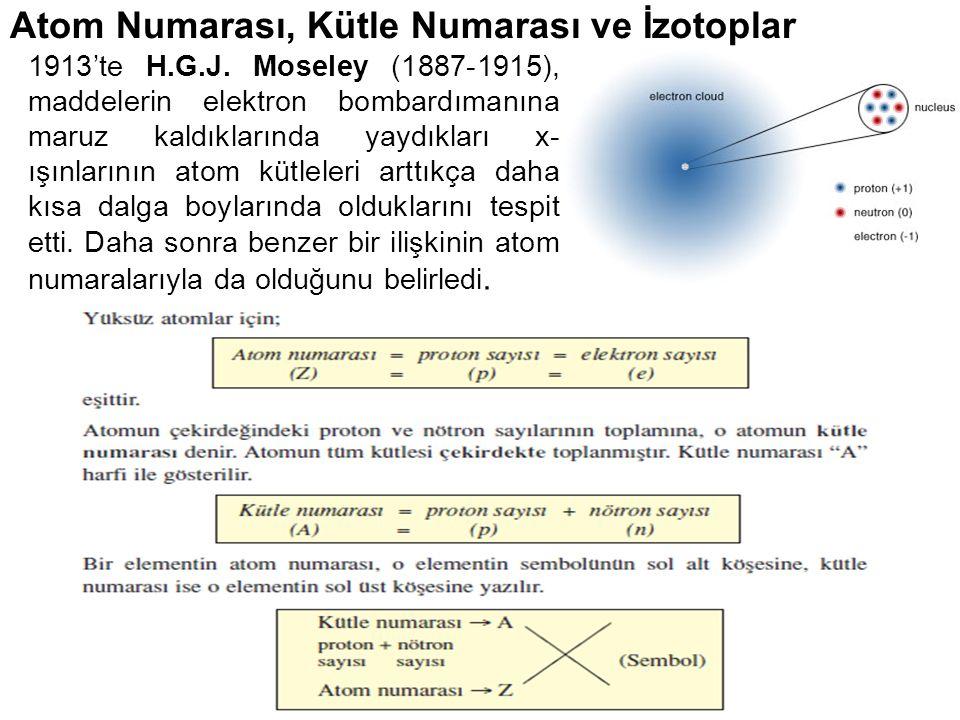 16 Atom Numarası, Kütle Numarası ve İzotoplar 1913'te H.G.J. Moseley (1887-1915), maddelerin elektron bombardımanına maruz kaldıklarında yaydıkları x-