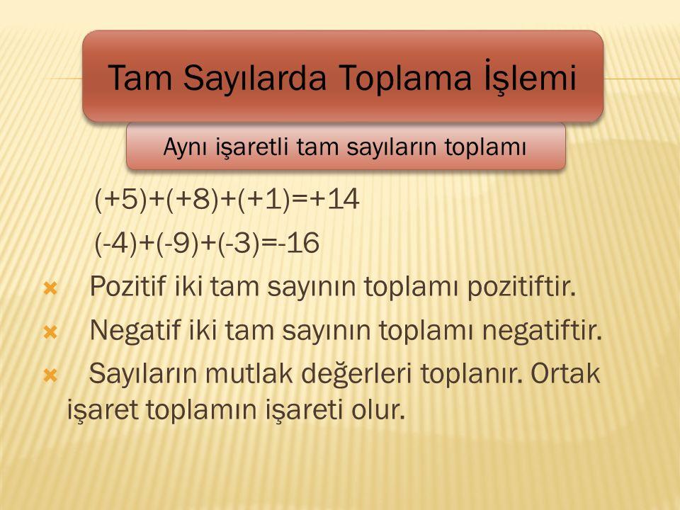 (+5)+(+8)+(+1)=+14 (-4)+(-9)+(-3)=-16  Pozitif iki tam sayının toplamı pozitiftir.