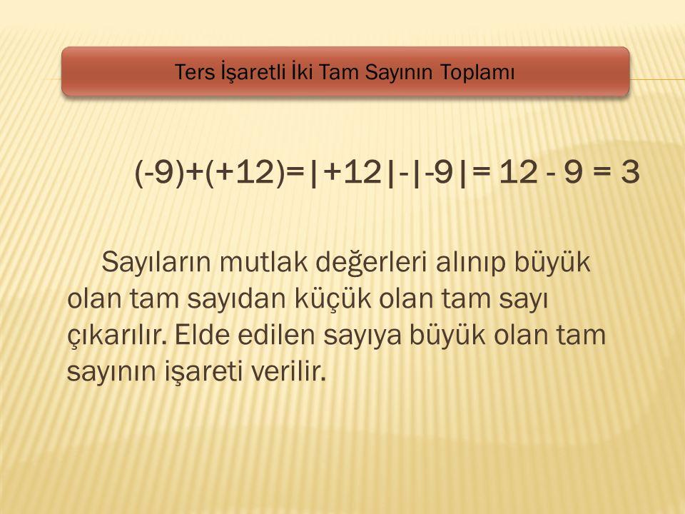 (-9)+(+12)=|+12|-|-9|= 12 - 9 = 3 Sayıların mutlak değerleri alınıp büyük olan tam sayıdan küçük olan tam sayı çıkarılır.