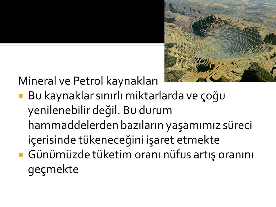 Mineral ve Petrol kaynakları  Bu kaynaklar sınırlı miktarlarda ve çoğu yenilenebilir değil. Bu durum hammaddelerden bazıların yaşamımız süreci içeris