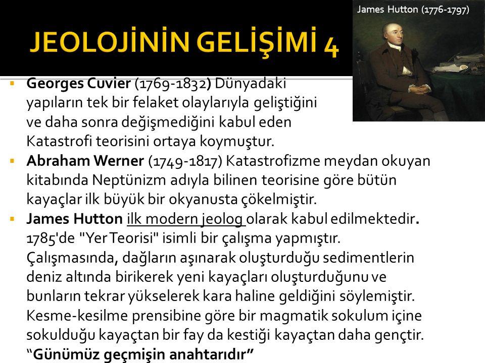  Georges Cuvier (1769-1832) Dünyadaki yapıların tek bir felaket olaylarıyla geliştiğini ve daha sonra değişmediğini kabul eden Katastrofi teorisini o