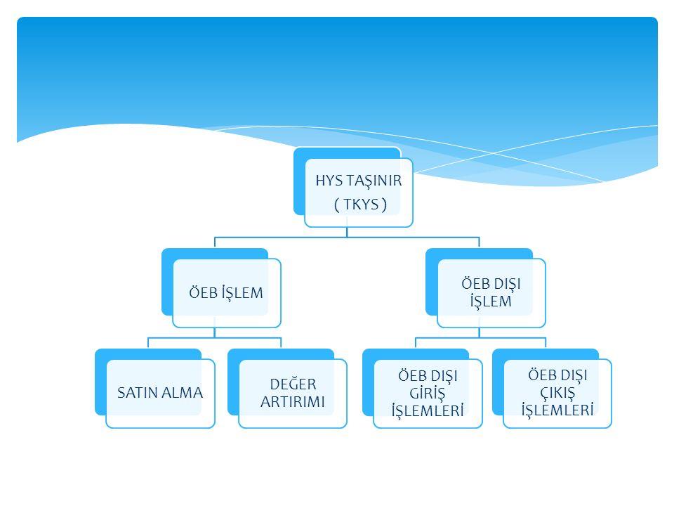 TİF (TKYS ) HYS (İşleme Bağlanmamış TİF ) SAY 2000İ Muhasebe birimince geri gönderilebilir.