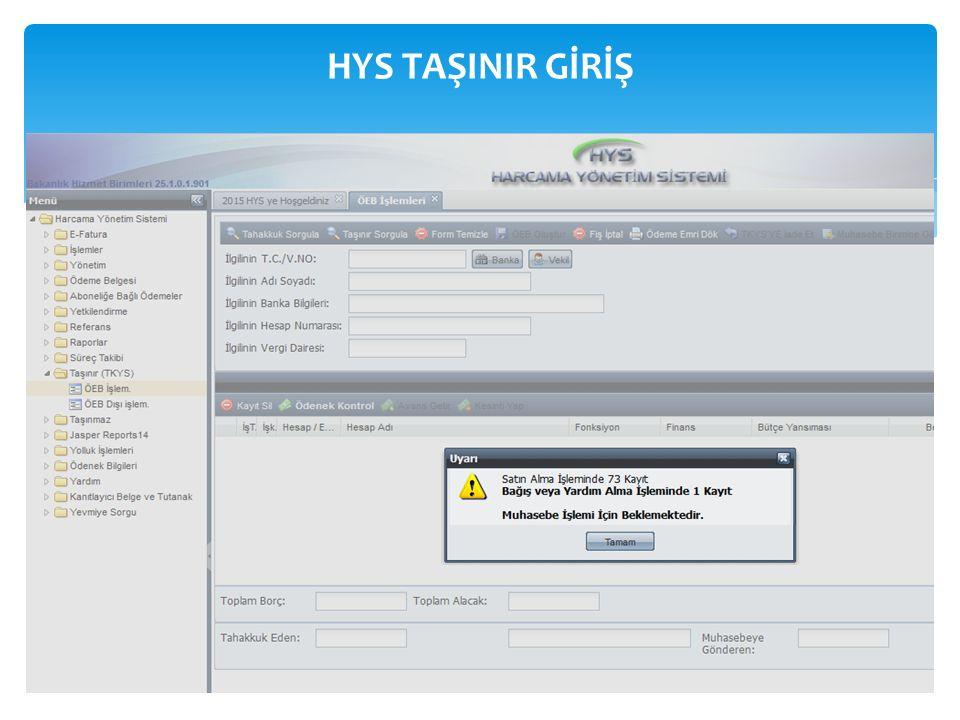 TİF (TKYS ) HYS (Tahakkuka Bağlanmamış TİF ) SAY 2000i (HYS ye gönder) HYS ÖEB Muhasebe birimince geri gönderilebilir.