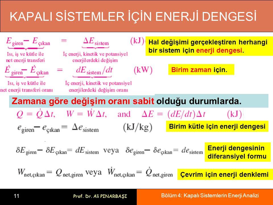 Bölüm 4: Kapalı Sistemlerin Enerji Analizi 11 Prof. Dr. Ali PINARBAŞI KAPALI SİSTEMLER İÇİN ENERJİ DENGESİ Hal değişimi gerçekleştiren herhangi bir si