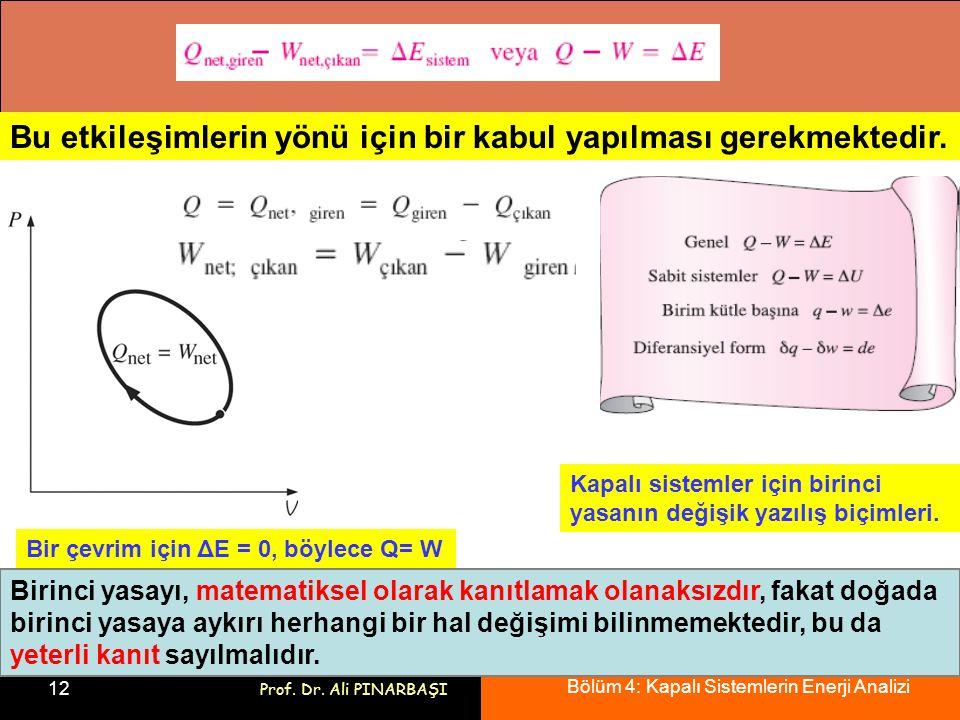 Bölüm 4: Kapalı Sistemlerin Enerji Analizi 12 Prof. Dr. Ali PINARBAŞI Bu etkileşimlerin yönü için bir kabul yapılması gerekmektedir. Kapalı sistemler