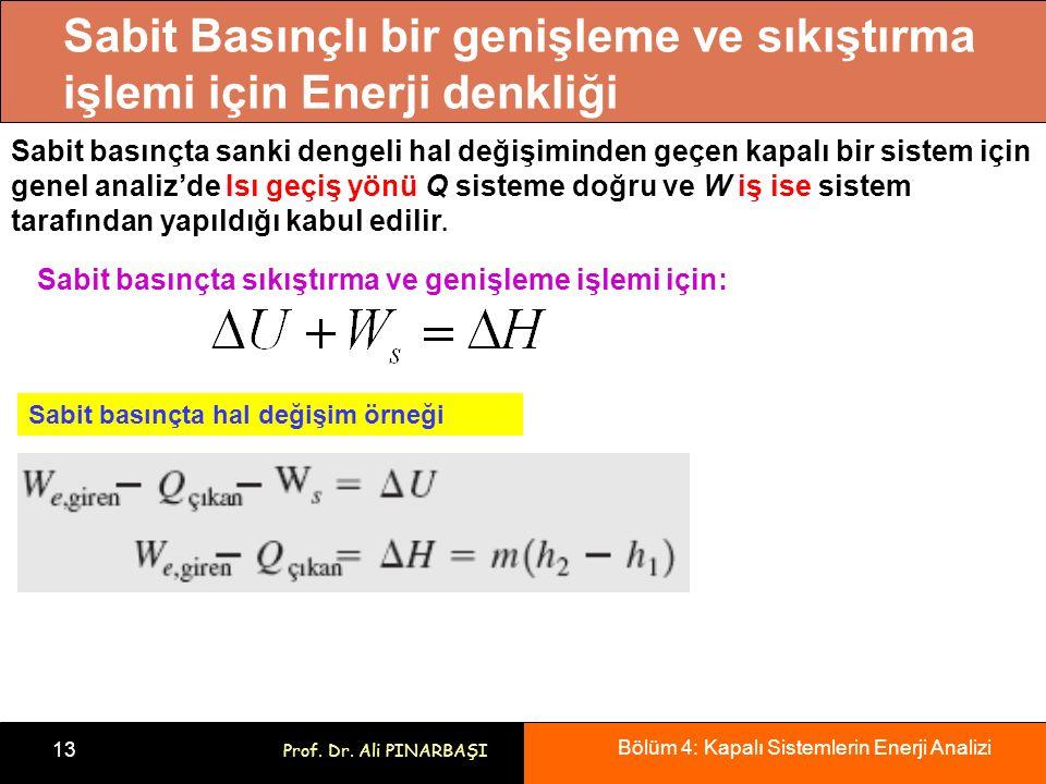 Bölüm 4: Kapalı Sistemlerin Enerji Analizi 13 Prof. Dr. Ali PINARBAŞI Sabit Basınçlı bir genişleme ve sıkıştırma işlemi için Enerji denkliği Sabit bas