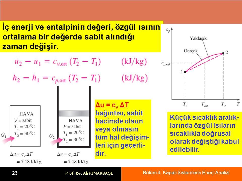 Bölüm 4: Kapalı Sistemlerin Enerji Analizi 23 Prof. Dr. Ali PINARBAŞI Küçük sıcaklık aralık- larında özgül Isıların sıcaklıkla doğrusal olarak değişti