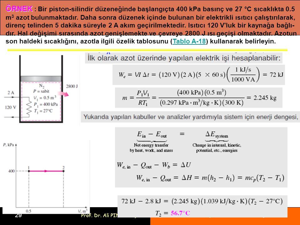 Bölüm 4: Kapalı Sistemlerin Enerji Analizi 29 Prof. Dr. Ali PINARBAŞI ÖRNEK ÖRNEK : Bir piston-silindir düzeneğinde başlangıçta 400 kPa basınç ve 27 °