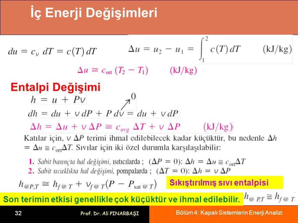 Bölüm 4: Kapalı Sistemlerin Enerji Analizi 32 Prof. Dr. Ali PINARBAŞI İç Enerji Değişimleri Entalpi Değişimi Sıkıştırılmış sıvı entalpisi Son terimin