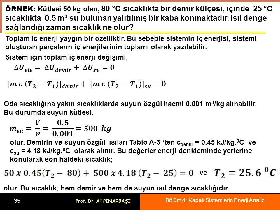 Bölüm 4: Kapalı Sistemlerin Enerji Analizi 35 Prof. Dr. Ali PINARBAŞI ÖRNEK: Kütlesi 50 kg olan, 80 °C sıcaklıkta bir demir külçesi, içinde 25 °C sıca