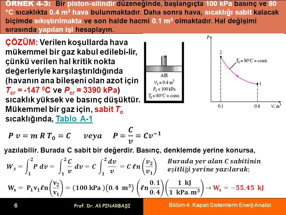 Bölüm 4: Kapalı Sistemlerin Enerji Analizi 6 Prof. Dr. Ali PINARBAŞI ÖRNEK 4-3: Bir piston-silindir düzeneğinde, başlangıçta 100 kPa basınç ve 80 °C s