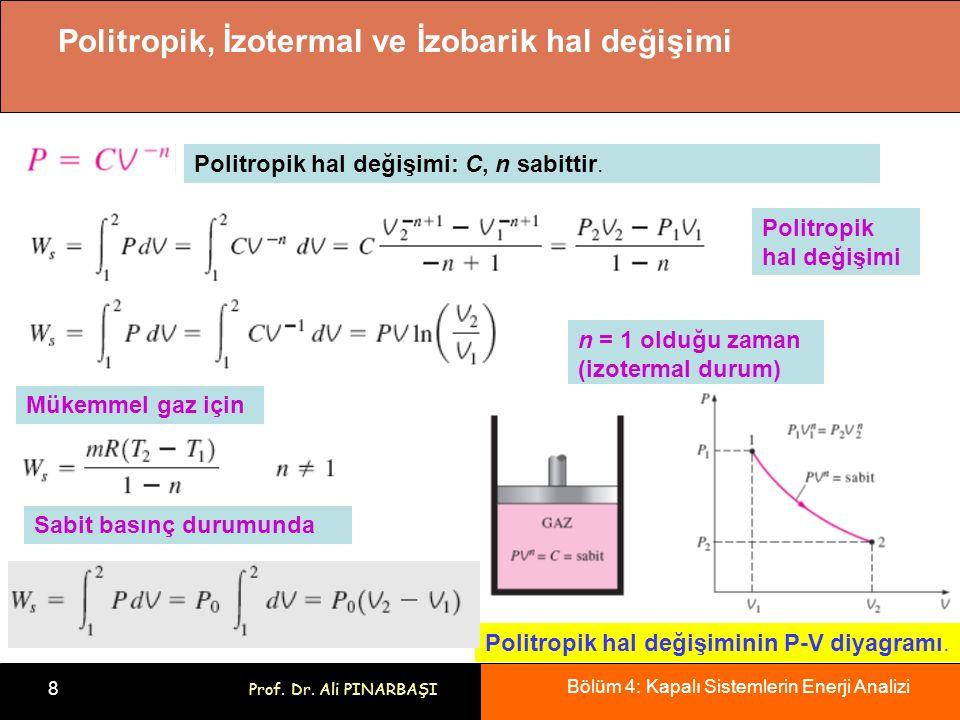 Bölüm 4: Kapalı Sistemlerin Enerji Analizi 8 Prof. Dr. Ali PINARBAŞI Politropik, İzotermal ve İzobarik hal değişimi Politropik hal değişimi: C, n sabi