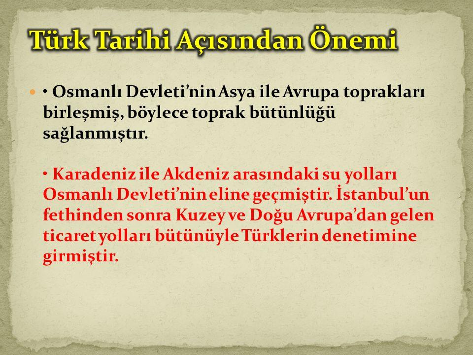 Osmanlı Devleti'nin Asya ile Avrupa toprakları birleşmiş, böylece toprak bütünlüğü sağlanmıştır.