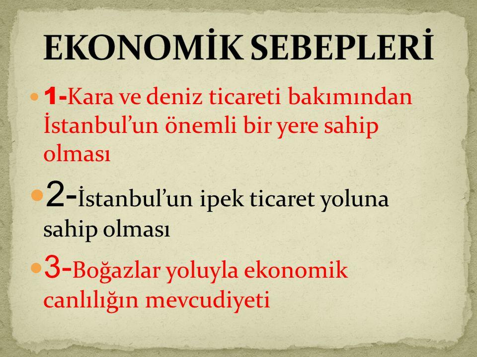1- Kara ve deniz ticareti bakımından İstanbul'un önemli bir yere sahip olması 2- İstanbul'un ipek ticaret yoluna sahip olması 3- Boğazlar yoluyla ekonomik canlılığın mevcudiyeti