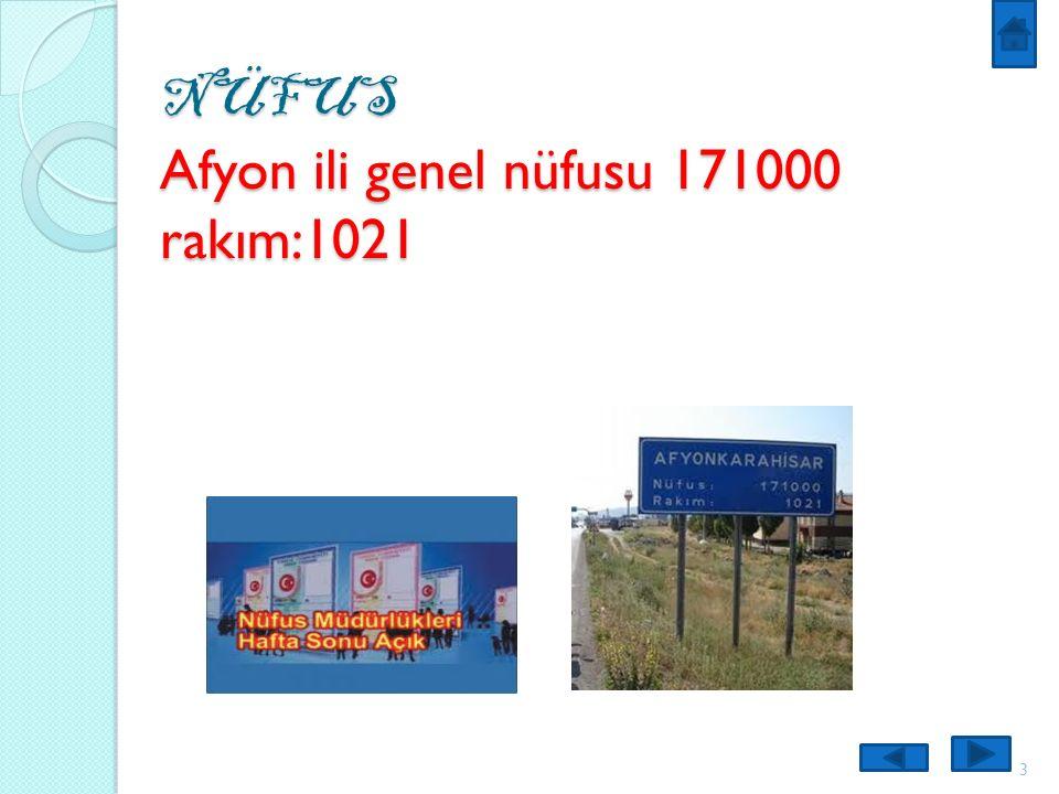 NÜFUS Afyon ili genel nüfusu 171000 rakım:1021 3