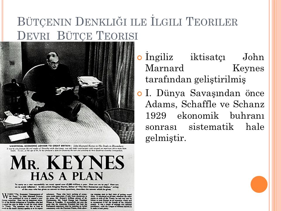 B ÜTÇENIN D ENKLIĞI ILE İ LGILI T EORILER D EVRI B ÜTÇE T EORISI İngiliz iktisatçı John Marnard Keynes tarafından geliştirilmiş I. Dünya Savaşından ön