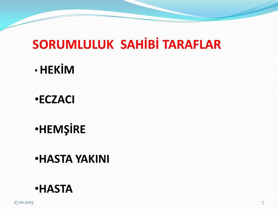 SORUMLULUK SAHİBİ TARAFLAR HEKİM ECZACI HEMŞİRE HASTA YAKINI HASTA 27.10.20157