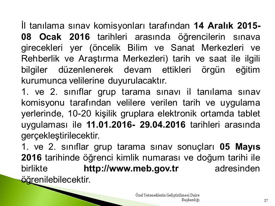 Özel Yeteneklerin Geliştirilmesi Daire Başkanlığı37 İl tanılama sınav komisyonları tarafından 14 Aralık 2015- 08 Ocak 2016 tarihleri arasında öğrencil