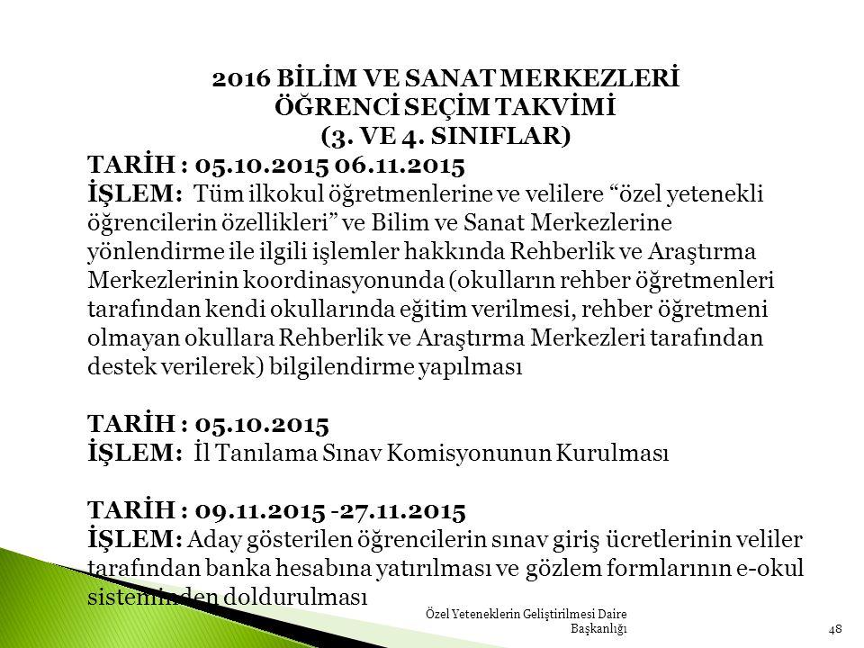 Özel Yeteneklerin Geliştirilmesi Daire Başkanlığı48 2016 BİLİM VE SANAT MERKEZLERİ ÖĞRENCİ SEÇİM TAKVİMİ (3.