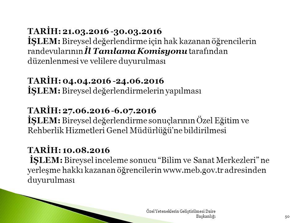 Özel Yeteneklerin Geliştirilmesi Daire Başkanlığı50 TARİH: 21.03.2016 -30.03.2016 İŞLEM: Bireysel değerlendirme için hak kazanan öğrencilerin randevul