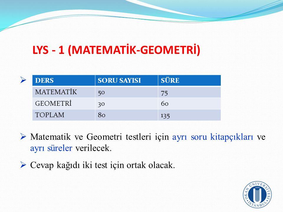 LYS - 1 (MATEMATİK-GEOMETRİ)   Matematik ve Geometri testleri için ayrı soru kitapçıkları ve ayrı süreler verilecek.  Cevap kağıdı iki test için or