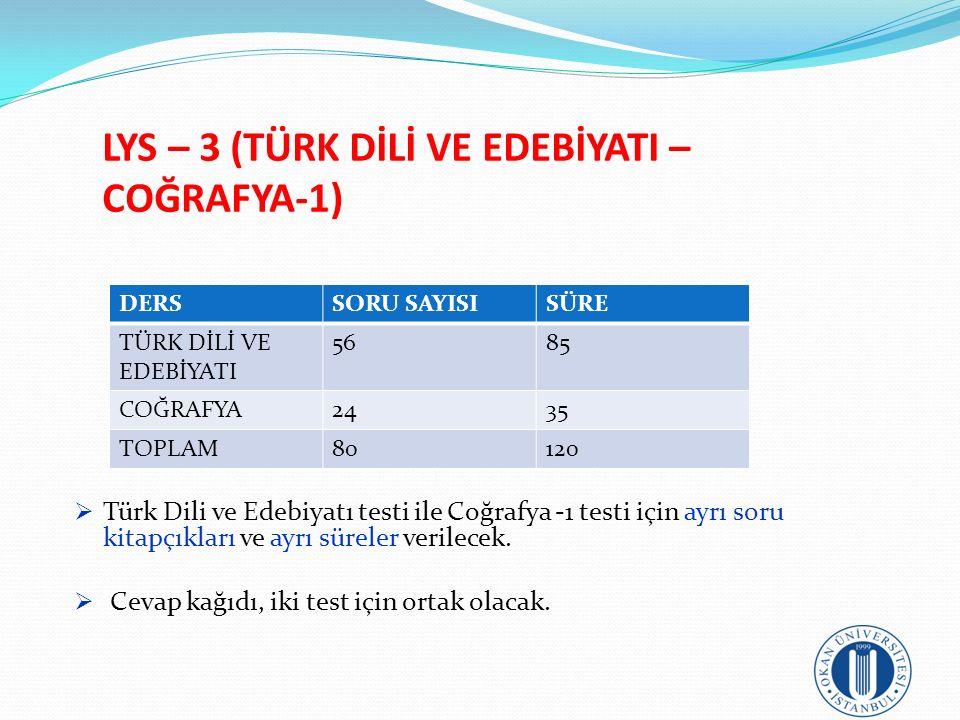 LYS – 3 (TÜRK DİLİ VE EDEBİYATI – COĞRAFYA-1)  Türk Dili ve Edebiyatı testi ile Coğrafya -1 testi için ayrı soru kitapçıkları ve ayrı süreler verilec