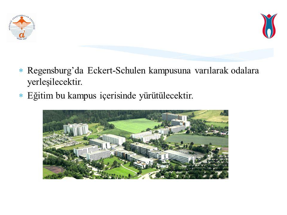  Regensburg'da Eckert-Schulen kampusuna varılarak odalara yerleşilecektir.