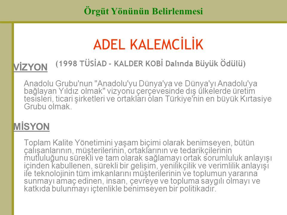 Örgüt Yönünün Belirlenmesi ADEL KALEMCİLİK (1998 TÜSİAD - KALDER KOBİ Dalında Büyük Ödülü) VİZYON Anadolu Grubu'nun