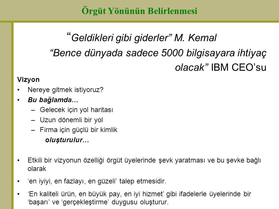 """"""" Geldikleri gibi giderler"""" M. Kemal """"Bence dünyada sadece 5000 bilgisayara ihtiyaç olacak"""" IBM CEO'su Vizyon Nereye gitmek istiyoruz? Bu bağlamda… –G"""