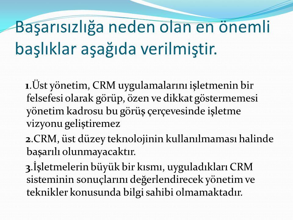 Başarısızlığa neden olan en önemli başlıklar aşağıda verilmiştir. 1.Üst yönetim, CRM uygulamalarını işletmenin bir felsefesi olarak görüp, özen ve dik