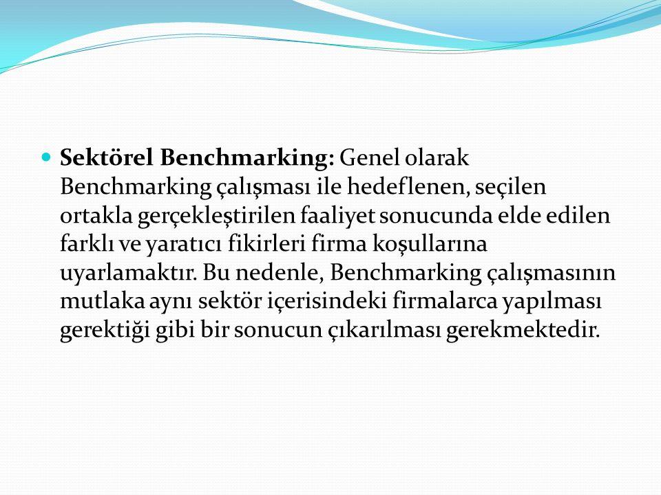Sektörel Benchmarking: Genel olarak Benchmarking çalışması ile hedeflenen, seçilen ortakla gerçekleştirilen faaliyet sonucunda elde edilen farklı ve y