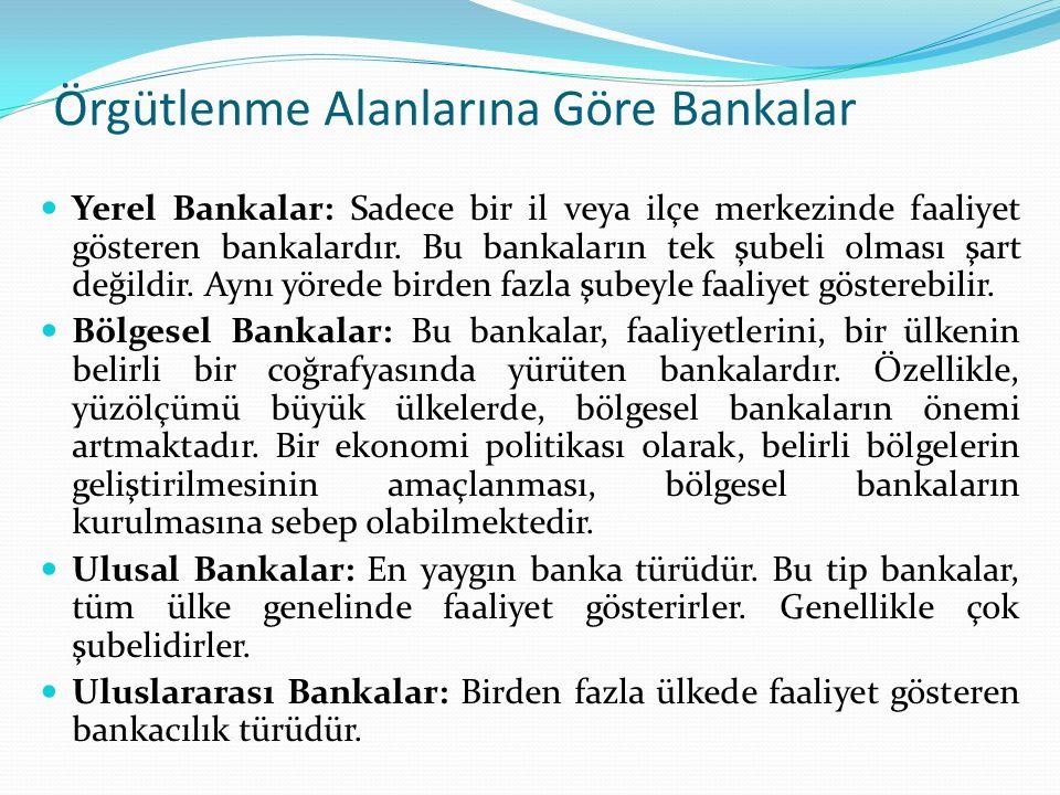 Örgütlenme Alanlarına Göre Bankalar Yerel Bankalar: Sadece bir il veya ilçe merkezinde faaliyet gösteren bankalardır. Bu bankaların tek şubeli olması