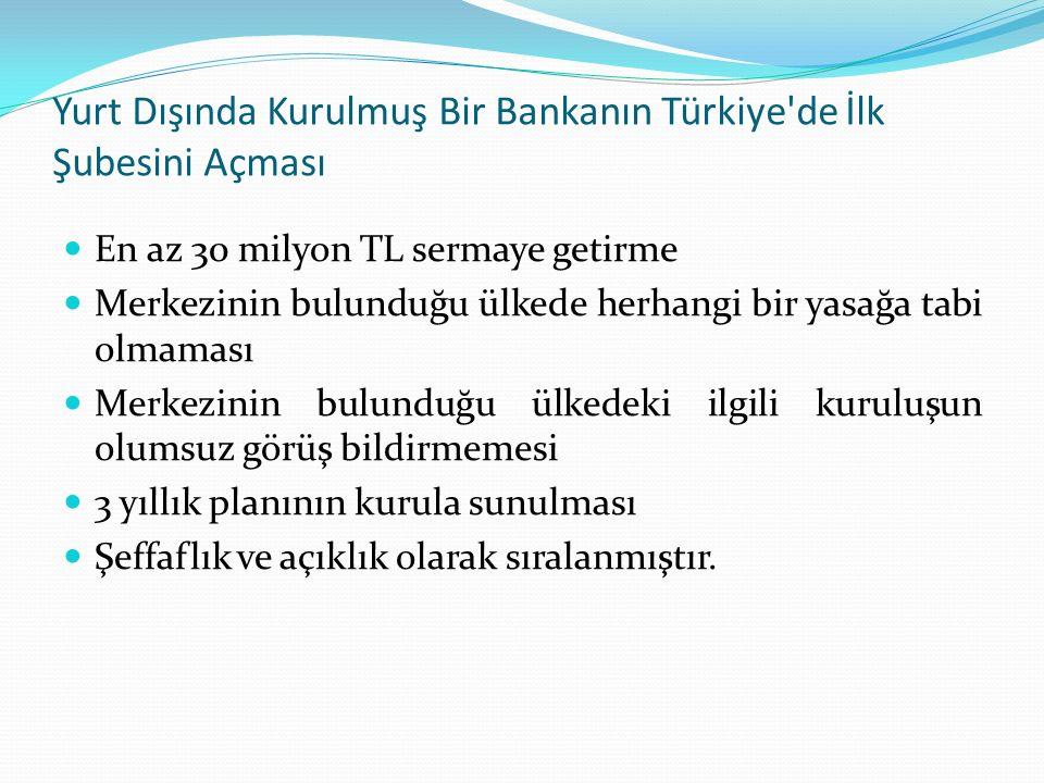 Yurt Dışında Kurulmuş Bir Bankanın Türkiye de İlk Şubesini Açması En az 30 milyon TL sermaye getirme Merkezinin bulunduğu ülkede herhangi bir yasağa tabi olmaması Merkezinin bulunduğu ülkedeki ilgili kuruluşun olumsuz görüş bildirmemesi 3 yıllık planının kurula sunulması Şeffaflık ve açıklık olarak sıralanmıştır.