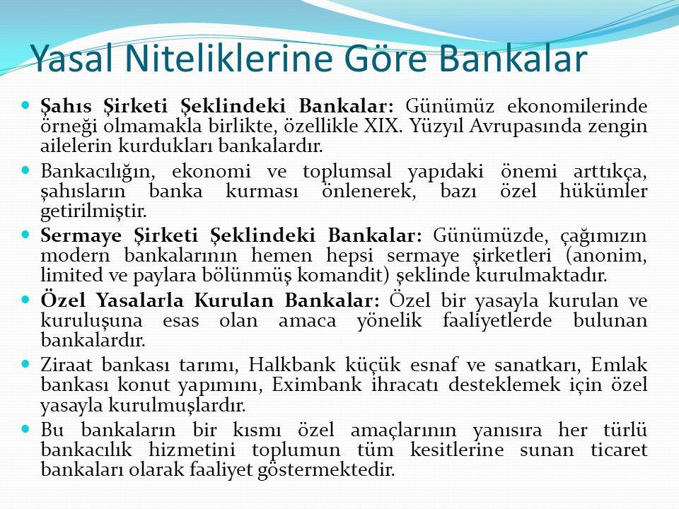 Yasal Niteliklerine Göre Bankalar Şahıs Şirketi Şeklindeki Bankalar: Günümüz ekonomilerinde örneği olmamakla birlikte, özellikle XIX.