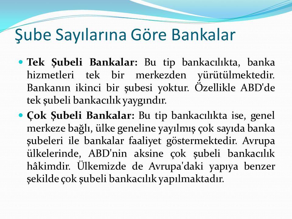Şube Sayılarına Göre Bankalar Tek Şubeli Bankalar: Bu tip bankacılıkta, banka hizmetleri tek bir merkezden yürütülmektedir.