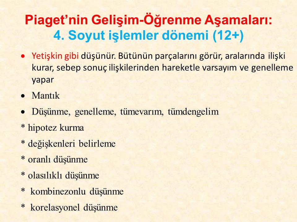Piaget'nin Gelişim-Öğrenme Aşamaları: 4. Soyut işlemler dönemi (12+) Bu dönemde bireyde ayırt etme, değişkenleri belirleme ve kontrol etme, hayal kurm