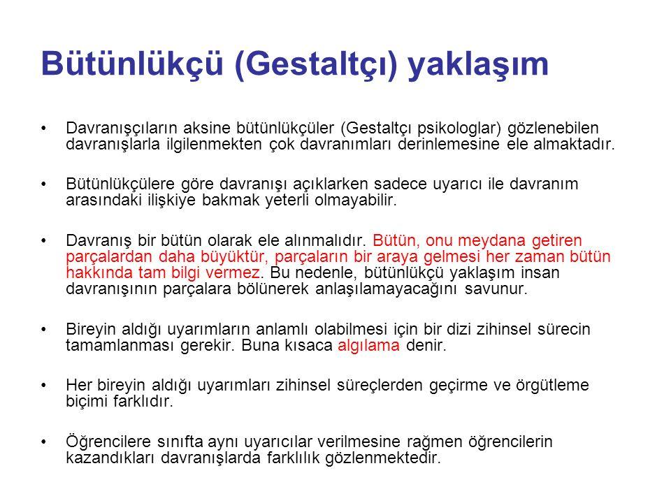 Gestaltçı (işaret) Kuram Bilişsel Gelişmeci Kuram Bilgi İşlem Kuram Fonksiyonalist Kuram Yapılandırmacı Kuram ….. …üzerinde duracağız.. Bilişsel Kuram