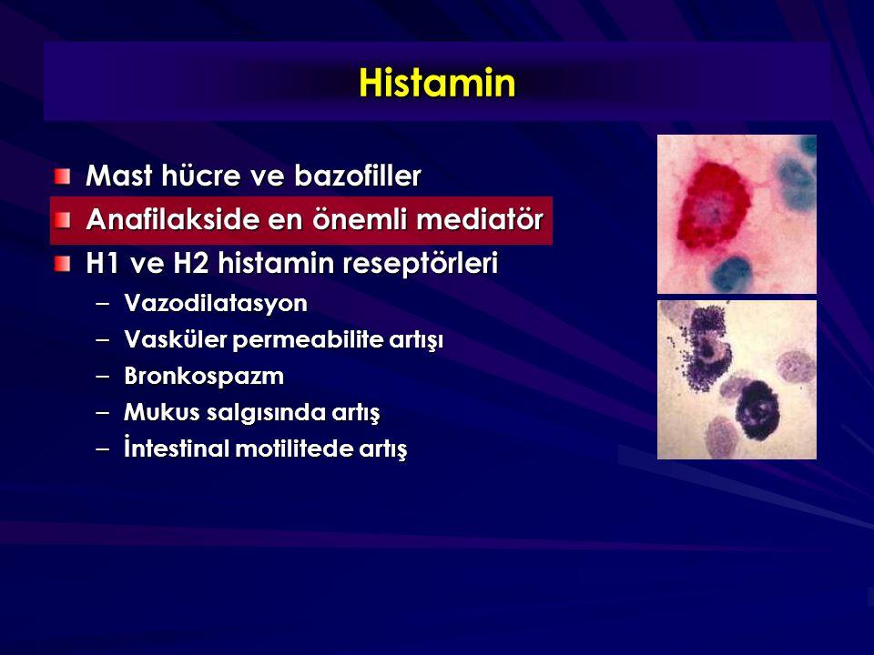 Histamin Mast hücre ve bazofiller Anafilakside en önemli mediatör H1 ve H2 histamin reseptörleri – Vazodilatasyon – Vasküler permeabilite artışı – Bronkospazm – Mukus salgısında artış – İntestinal motilitede artış