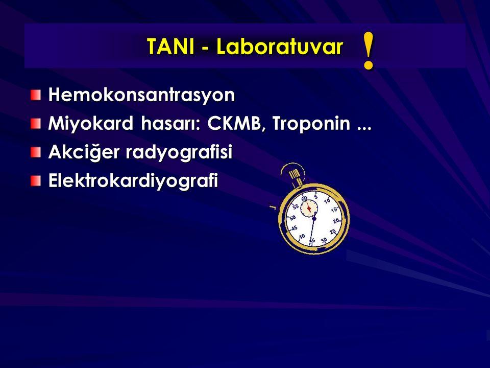 TANI - Laboratuvar Hemokonsantrasyon Miyokard hasarı: CKMB, Troponin...