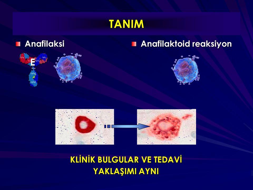 Anafilakside volüm kaybı Vasküler permeabilite artışı intravasküler volüm (10 dk.da %50 !) Endojen katekolamin Anjiotensin sistemi GENELLİKLE YETERSİZ IV SIVI REPLASMANI !