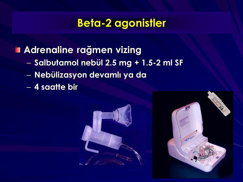 Beta-2 agonistler Adrenaline rağmen vizing – Salbutamol nebül 2.5 mg + 1.5-2 ml SF – Nebülizasyon devamlı ya da – 4 saatte bir