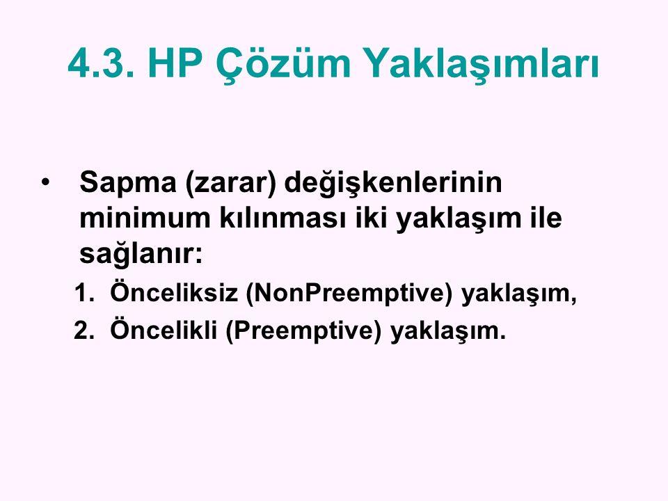 4.3. HP Çözüm Yaklaşımları Sapma (zarar) değişkenlerinin minimum kılınması iki yaklaşım ile sağlanır: 1.Önceliksiz (NonPreemptive) yaklaşım, 2.Öncelik